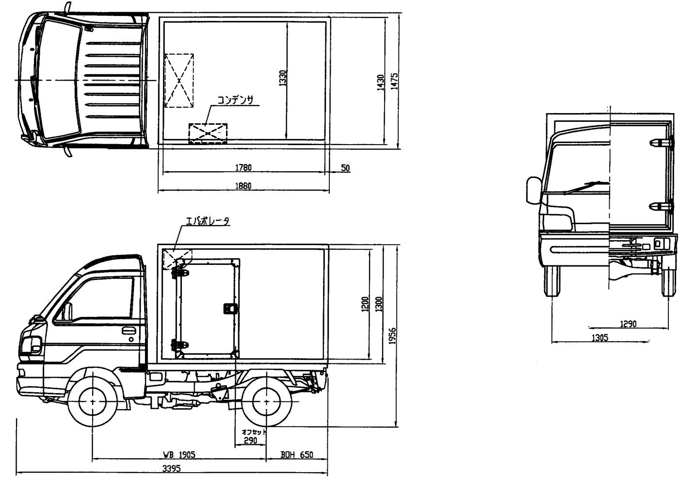 東プレ製 冷蔵冷凍車 中温 見取り図